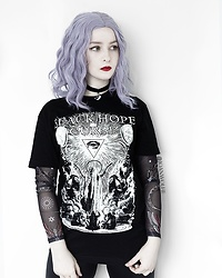 Joan Wolfie - Black Hope Curse T Shirt, Black Milk Clothing Mesh Top, Starlite Hair Wig - BLACK MASS // Joan Wolfie