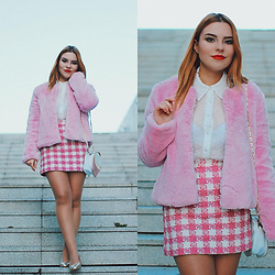 Carina Gonçalves - Lefties Coat, Stradivarius Blouse, Handmade Skirt, Lefties Heels - On Wednesdays I Wear Pink