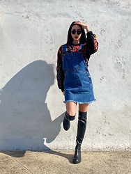 Christy Jaldori - Bershka Over The Knee Boots, Pink Woman Dungaree, Zara Sweater, Lgr Eyewear - My it's still not Friday face