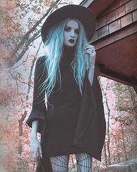Jadethelibra - Killstar Arcadia Sweater Dress, Killstar Witch Brim Hat, Boohoo Spiderweb Tights - Into The Woods