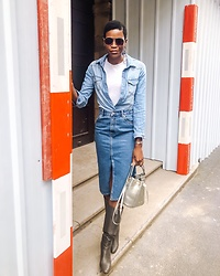 PAMELA - Asos Denim Midi Skirt, H&M Denim Shirt, Mango Aviator Sunglasses, Aerosoles Knee High Boots - Double Denim