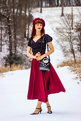 Bleu Avenue - Shein Lace Up Back Star Pattern Surplice Blouse, Shein Burgundy Midi Skirt - Snow Storm
