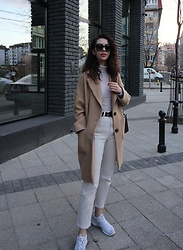 Jelena - Saint Laurent Black Sunglasses, Gap Stripped Turtleneck, Zara Camel Coat, H&M Beige Pants, Asos Black Leather Belt, Alexander Wang Prisma Bag, Nike White Sneakers - Mixing neutrals