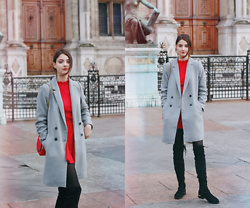 Nora Aradi - Zara Coat, New Look Boots, H&M Shirt, H&M Skirt, Charles & Keith Bag - Hôtel de Ville