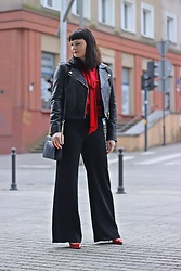 Moda_i_takie_tam - Mango Black Leathe Biker, Zara Red Sweater, H&M Palazzo Pants, Michael Kors Jet Set Bag - Czarna Inez
