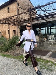 Anna Borisovna - Céline Blazer, Marni Belt, Sandro Pants, Other Stories Shoes, Marni Bag - The Leather Pants