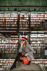 Andreea Birsan - Red Beret, Houdstooth Oversized Jacket, Gucci Gg Stockings, Black Faux Suede Over The Knee Boots, Red Bag, Black Mini Skirt, Oversized Sunglasses - French chic