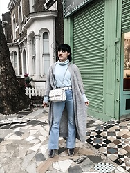 Weronika Bukowczan - Long Maxi Grey Knitted Cardigan, Angora Baby Blue Turtle Neck Jumper, Asos Denim Blue Flares, White Studded Shoulder Bag - Chilly