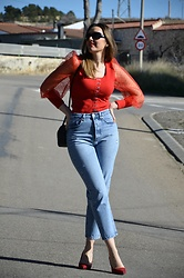 Elisabeth Green - Femmeluxe Red Top - Red and Jeans