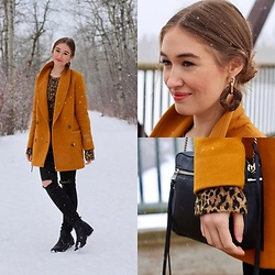 Taylor Doucette - Aritzia Mustard Yellow Wool Reeves Coat, Zara Cheetah Print Top, Oak And Fort Acrylic Geometric Statement Earrings, Allsaints Leather Crossbody Purse, Citizens Of Humanity Distressed Denim - Kinda Feels Alright - Wild Rivers