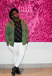 Jordan Burton - Forever 21 Rose Sweater, H&M   Divided Coat, M.So¢Iety Stretch Jogger Pant W/ Zippers, Charlotte Russe Fedora, Oliver Sweeney Leather Boots, Ray Ban Wayfarer Eyeglasses W/ Crizal - Rosey.
