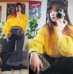Siri ♧ - Mom <3 Knit Wool Sweater, Vintage Silk Belt (Headscarf), Raspberry Collection Pants, Vintage Purse - Yellow knit sweater