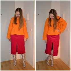 Mucha Lucha - H&M Jumper, & Other Stories Skirt, Asos Boots - More orange and pink