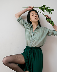 Gi Shieh - Express Green Button Down Shirt, Forever 21 Emerald Slit Skirt, H&M Fishnet Tights - Are You Ready For Spring?!