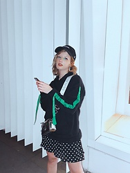 Vlada Kozachyshche - Zara Sweatshirt, Forever 21 Dress, Marc By Jacobs Bag, Forever 21 Earrings, Nike Hat - Green accent