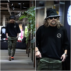 INWON LEE - Byther Baggy South Korean Flag 3/4 Sleeve Shirt, Byther Black Corduroy Short Bucket Hat, Byther Two Pocket Cargo Joggers - Casual Khaki Pants