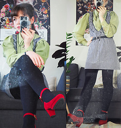 Siri ♧ - Wego Cherry Earrings, Vintage Lime Green Blouse, Wego Basic Black Belt, Vintage Gingham Dress, Wego Red Heels - Green, red and gingham