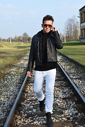 Pawel - Levi's® Leather Jacket, Diesel White Jeans, Zadig & Voltaire Sneakers, Allsaints Hoodie - Pre-spring/black/white