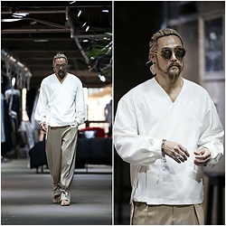 INWON LEE - Byther Ankle Tie String Gurkhas Wide Slacks, Byther Korean Scrolling V Neck Shirt - Oriental White Shirt