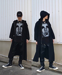 ★masaki★ - Jesse Draxler Tee, Ssnmrkrn Artisanal Military Coat, Zara Pants, Converse Ct70, Vitaly Necklace, Kollaps New Wave - Black Style