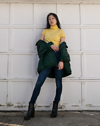 Gi Shieh - Raided Mom's Closet Yellow Turtleneck Tee, Raided Dad's Closet Green Oversized Jacket, H&M Blue Denim Jeans, Aldo Black Platform Boots - YELLOW + BLUE = GREEN!