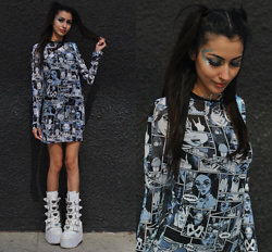 Ami Amour - Dollskill Manga Comic Print Dress, Demonia White Platform Heart Buckle Boots - Manga