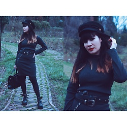 Roxana Ionescu - Local Store Dress, Koton Belts, Local Store Boots, Stradivarius Bag, Pull & Bear Hat - 🌑