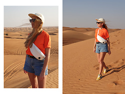 Ewa Michalik - Pull & Bear Shorts, Saucony Sneakers, Ssg Bag, Ssg T Shirt, Soya Sunglasses, Paris & Hendzel Cap - Red Sand Desert - Dubai