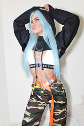 Stav Monskey - Dolls Kill Chained N' Dangerous Hoodie, Sex Therapy Bralette, Heron Preston Logo Utility Belt, Camo Pants - CHAINED N' DANGEROUS