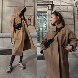 Aliya A - Somemoment Waterproof Trench Coat, Adidas Sneakers - Somemoment waterproof coat