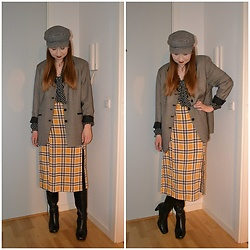 Mucha Lucha - H&M Hat, Gina Tricot Blouse, Second Hand Blazer, Even&Odd Dress, Second Hand Boots - First time and last time