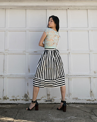 Gi Shieh - H&M Mint Lace Bodycon Dress, Topshop Black And White Striped Skirt, Steve Madden Black Sandals - Celebrating Spring with Pastels