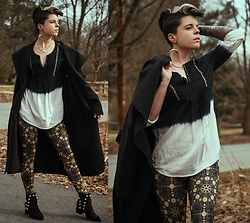 Carolyn W - Femme Luxe Cape Like, Anthropologie Two Tone, Black Milk Clothing Sacred Geomretry, Privileged Studded - (Still Getting Dressed)