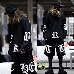 INWON LEE - Byther Big Lettering Logo Short T Shirt, Byther Long Sleeve Shirt, Byther Leggings - Black Fashion DAY