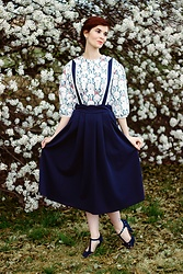 Bleu Avenue - Shein Rabbit Print Top, Shein Navy Blue Pinafore Skirt - Following White Rabbits