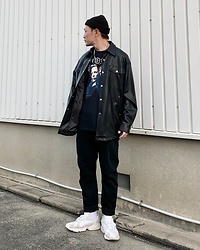 ★masaki★ - X Files Movie Tee, Zara Oversized Leather Shirts, Neuw Denim Jeans, Adidas Yung1 - X-files