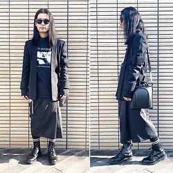 @KiD - Joy Division Love Will Tear Us Apart, Monochrome Kimino Jacket, Dickies Remake Hakama Pants, Dr. Martens Unknown Pleasures - JapaneseTrash540