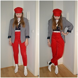 Mucha Lucha - H&M Hat, Monki T Shirt, Monki Sweater Vest, Asos Belt, Second Hand Blazer, Monki Trousers, Topshop Boots - Red, navy, white