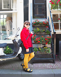 Siri ♧ - Lazy Oaf Red Fleece Jacket, Tokyo Bopper Bag, Vintage (Vienna) Dark Blue Shorts, Nuovo Black Platforms - Flower staircase