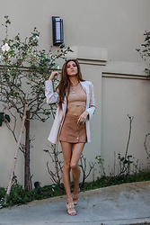 Jenny M - Zara Shapewear Top, Forever 21 Faux Suede Skirt, Michael Kors Sandals - @thehungarianbrunette / The Neutral Edit look 3