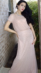 Caitlin - Statement Necklace, Adrianna Papell Pink Beaded Short Sleeve Gown - Pink Beaded Gown