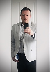 Mark Foote - Marks & Spencer Striped Blazer, Marks & Spencer Floral Print Shirt By Autograph, Tu Clothing Black Straight Cut Jeans - Stay at Home