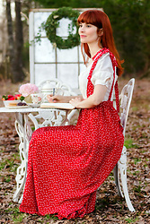 Bleu Avenue - Shein Hearts Pinafore, Forever 21 Linen Blend Princess Top - Afternoon Tea