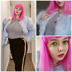 April Willis - H&M Striped Crop Top, Tk Maxx Rainbow Stripe Trousers, H&M Faux Fur Blue Jacket, Manic Panic Hot Hot Pink Hair Dye, Wish Padlock Chained Choker, Barry M Banana Split Gelly Nail Paint, I Heart Revolution Slime Palette, Barry M Glitter Cream Palette - Stay at home fashion