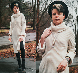 Carolyn W - Beret, Snake Vertebrae, Femme Luxe Sweater Dress, H&M Black, Fluevog Fitted - Black & White & Cozy