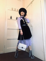 Weronika Bukowczan - Reserved Lilac Button Up Shirt Midi Dress, Black Velvet Strappy Mini Dress, Primark Velvet Grey Platform Boots, White Studded Quilted Shoulder Bag, Silk Vintage Scarf, Vintage Black Leather Belt, River Island Black Wool Hat - Double dress