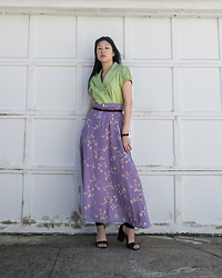 "Gi Shieh - Raided Moms Closet ""Neon"" Green Top, Raided Moms Closet Purple Floral Skirt, H&M Black Belt, Steve Madden Black Sandals - Soft Spring Pastels ☺️"