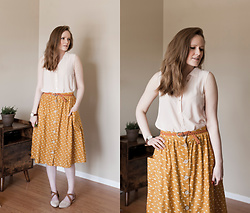 Emily S. - Roolee Linen Skirt, Everlane Silk Blouse, Stock Watches Watch, Roolee Sandals - Linen & Silk