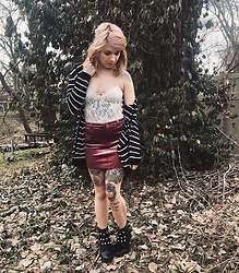 Emily Perkovich - H&M Stripe Open Knit Hooded Cardi, Urban Outfitters Lace Bodysuit, Forever 21 Velvet Skirt, Charlotte Russe Pearl Studded Combat Boots - 03302020