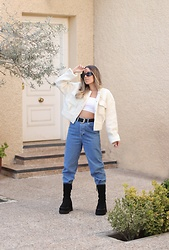 Claudia Villanueva - Shein Jacket, Primark Top, Zara Jeans, Yellow Shop Boots - The cozy little jacket